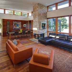 salon - Rock River House par Bruns Architecture - Rockton, Usa