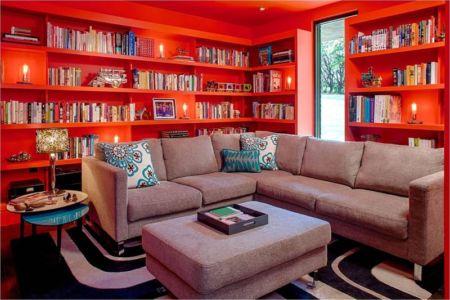 salon étage & bibliothèque - Hills-Residence par Specht Harpman - Texas, USA