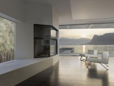 salon avec grande baie vitrée - o-house par Philippe Stuebi - Lucerne, Suisse