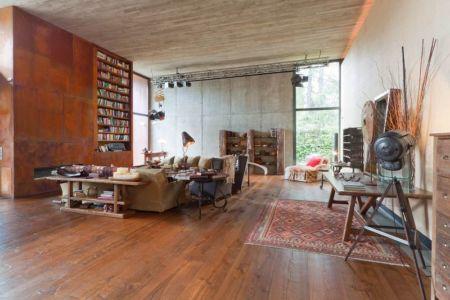 salon & bibliothèque - villa-madrid par Modern Homes - Madrid, Espagne