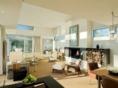 salon cheminée - Fieldview house par Blaze Makoid Architecture - East Hampton, Usa