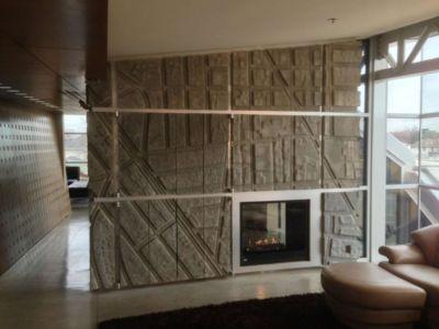 salon cheminée - Flute house par The Think Shop Architects - Royal Oak , Usa