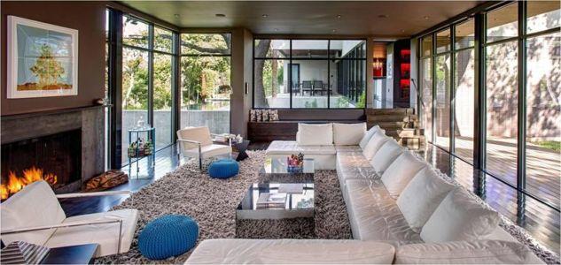 salon & cheminée - Hills-Residence par Specht Harpman - Texas, USA