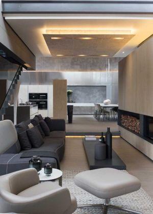 salon cheminée - House Sar par Nico van der Meulen Architects - Johannesbourg, Afrique du Sud