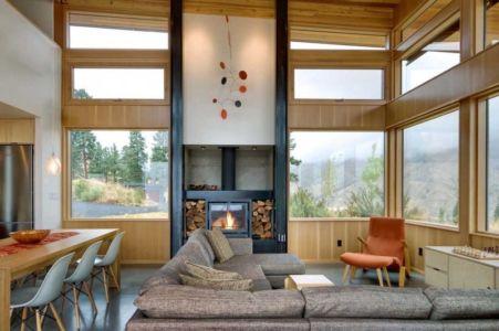 salon cheminée - Nahahum Canyon House par Balance Associates - Nahahum Canyon, Usa
