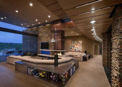 salon cheminée - Sefcovic Residence par Tate Studio Architects - Usa