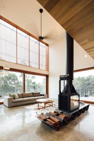 salon & cheminée centrale - Invermar House par Moloney Architects - Ballarat, Australie