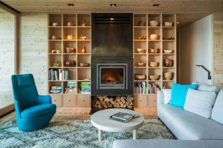 salon & cheminée design - Woodsy-Retreat par Heliotrope Architects - Washington, USA