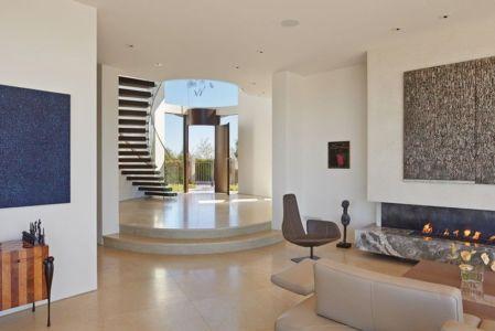 salon & cheminée design - maison exclusive par Polsky Perlstein Architectes - San Francisco, USA