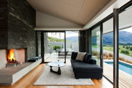 salon & cheminée design - modernist-style-house par Herriot+Melhuish Architecture - Central Otago, Nouvelle-Zelande