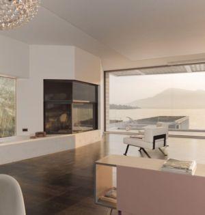 salon & cheminée design - o-house par Philippe Stuebi - Lucerne, Suisse