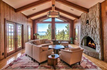 salon & cheminée traditionnelle - lake-view-cabin - Nevada, USA