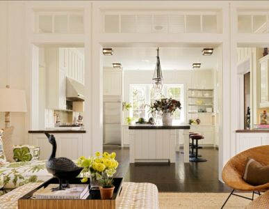 salon - cuisine - Transitional Farmhouse Design par Total Design - Calistoga, Californie, Usa