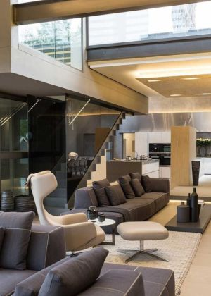 salon cuisine et escalier - House Sar par Nico van der Meulen Architects - Johannesbourg, Afrique du Sud