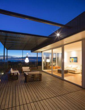 salon design balcon terrasse bois - GB-House par EMA Arquitectos - Concón, Chili