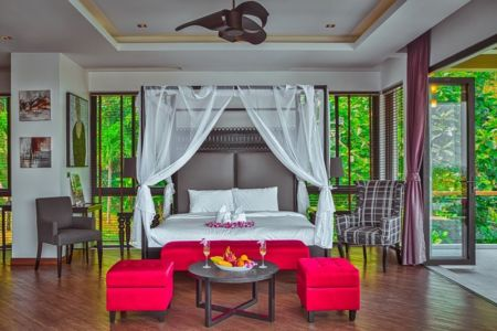 salon design chambre - villa contemporaine - Phuket, Thaïlande