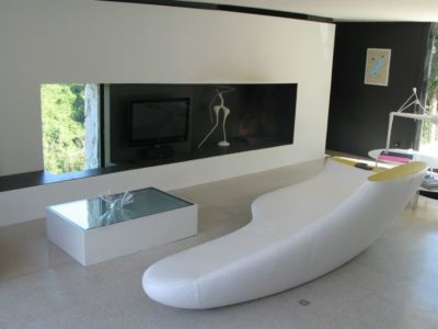 salon design & coin TV - Casa Farfalla par Michel Boucquillon - Toscane, Italie