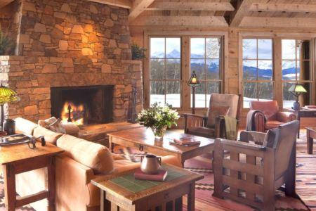 salon design et cheminée - Superbe villa de Tom Cruise