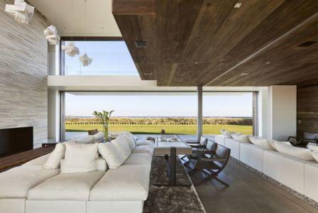 salon design & grande baie vitrée - sagaponack par Bates Masi Architects - Sagaponack, USA