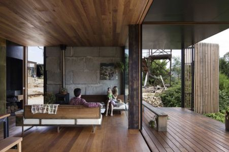 salon & espace ouvert - Sawmill-House par Archier - Yackandandah, Australie