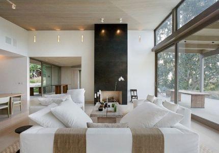 salon et baie vitrée - Malibu House par Dutton Architects - Usa