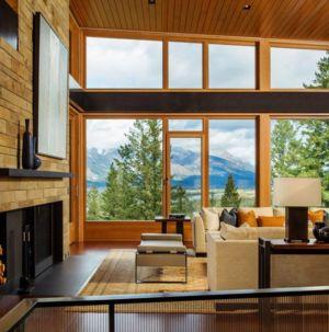 salon et cheminée - Butte Residence par Carney Logan Burke Architects - Jackson, Usa