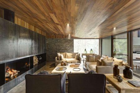 salon et cheminée - Casa MM par Elías Rizo Arquitectos - Mexique