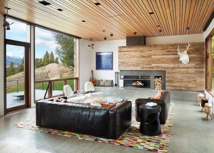 salon et cheminée - Contemporary Western par Hoyt Architects & CTA Group - Usa