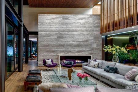 salon et cheminée - Garden house par VGZ Architecture - Mexico, Mexique