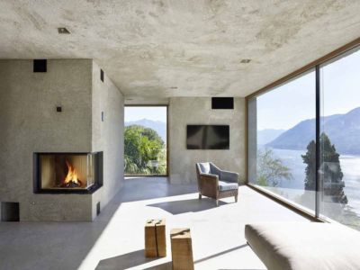 salon et cheminée - House in Brissago par Wespi de Meuron Romeo architects - Brissago, Suisse