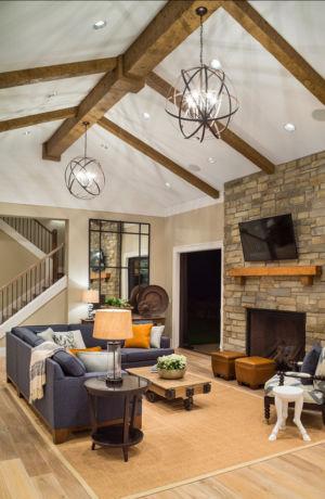 salon et cheminée - Maison typique par TTM Development company - Portland, Usa