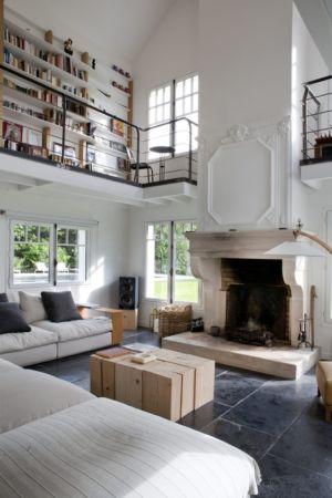 salon et cheminée - Rénovation Maison V - Olivier Chabaud Architecte - France