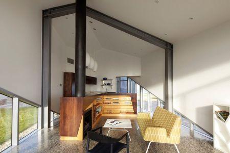 salon et cheminée - Scape House par Andrew Simpson Architects - Victoria, Australie