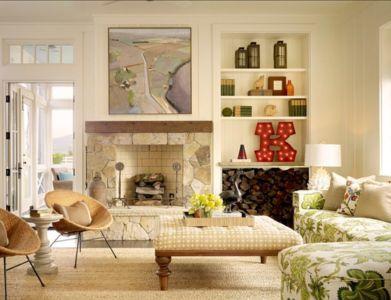 salon et cheminée - Transitional Farmhouse Design par Total Design - Calistoga, Californie, Usa