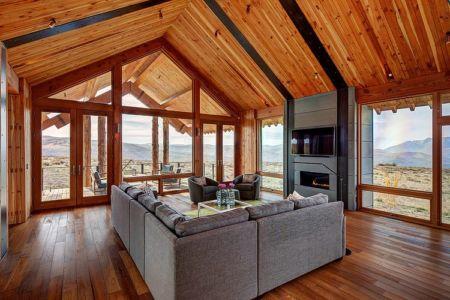 salon et cheminée - Wolf Creek Ranch par S+D Architects - Utah, Usa