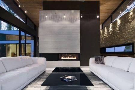salon et cheminée - wing-roofed home par Staffan Svenson architect - Atlanta, Usa