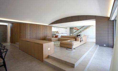 salon et cuisine - Mosman house par Popov Bass Architects - Sydney,Australie - photo Kraig Carlstrom