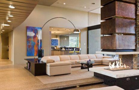salon et cuisine - Sefcovic Residence par Tate Studio Architects - Usa