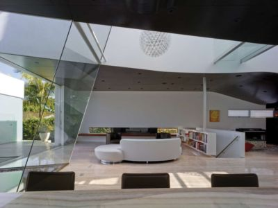 salon et lustre monumental - Birch Residence par Griffin Enright Architects - Los Angeles, Usa