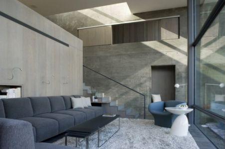 salon et mezzanine - Maison contemporaine béton par Cooper Joseph Studio - Sonoma, Usa