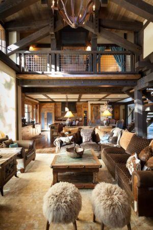 salon et mezzanine - chalet de luxe par Walton Architecture - Martis Camp, Usa