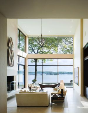 salon et panorama - Secluded contemporary home par Point One Architects - Essex, Usa