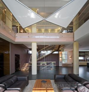 salon et vue mezzanine - House «Ecominimalizm». par Yakusha Design - Dnipropetrovsk, Ukraine