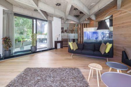 salon & grande baie coulissante - Urban-Eco-House par Tecon Architects - Bucuresti Roumanie