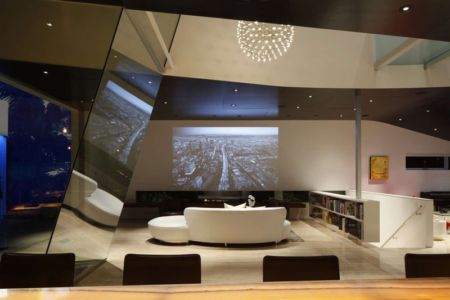 salon home cinema - Birch Residence par Griffin Enright Architects - Los Angeles, Usa