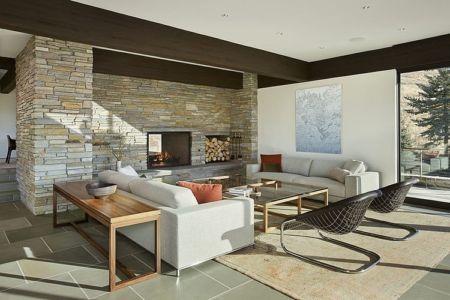 salon - maison bois et pierre contemporaine - Sun Valley, Usa