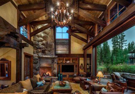salon ouvert sur terrasse - chalet de luxe par Walton Architecture - Martis Camp, Usa