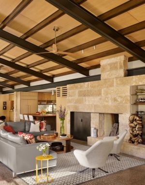 salon - ranch contemporain  par Poet Interiors - Houston, Usa