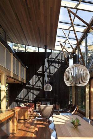 salon & séjour - Under Pohutukawa par Herbst Architects - Piha, Nouvelle-Zélande