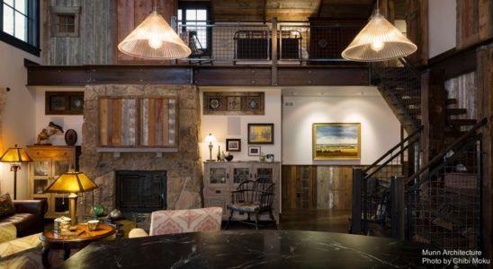 salon-séjour & vue balcon intérieure - Camp 88 par Munn Architecture - Colorado, USA